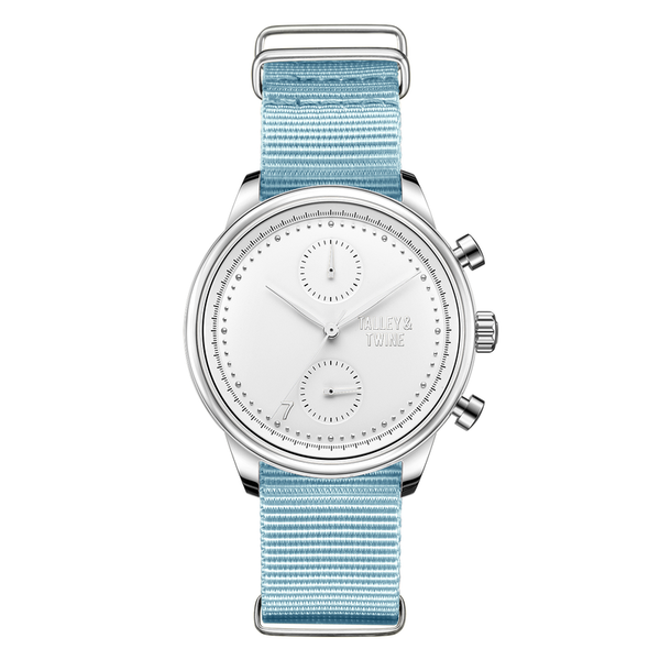 41mm Women's Worley Chronograph Silver & White w/ Light Blue Canvas Band