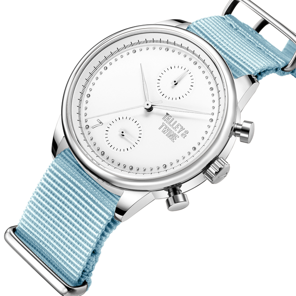[Women's 41mm] Silver & White Worley Chronograph - Light Blue Canvas