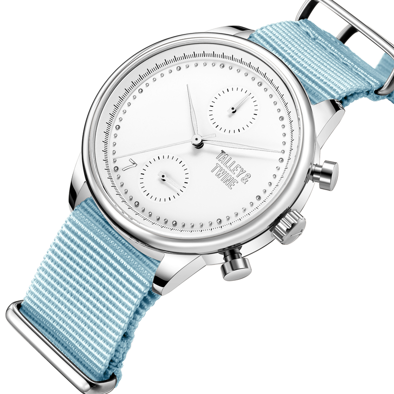 [Women's 41mm] Silver & White Worley Chronograph M - Light Blue Canvas