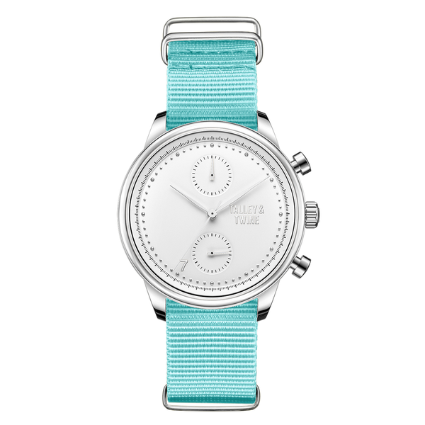 [Women's 41mm] Silver & White Worley Chronograph - Aqua Canvas