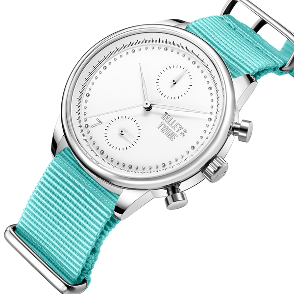 [Women's 41mm] Silver & White Worley Chronograph - Teal Canvas
