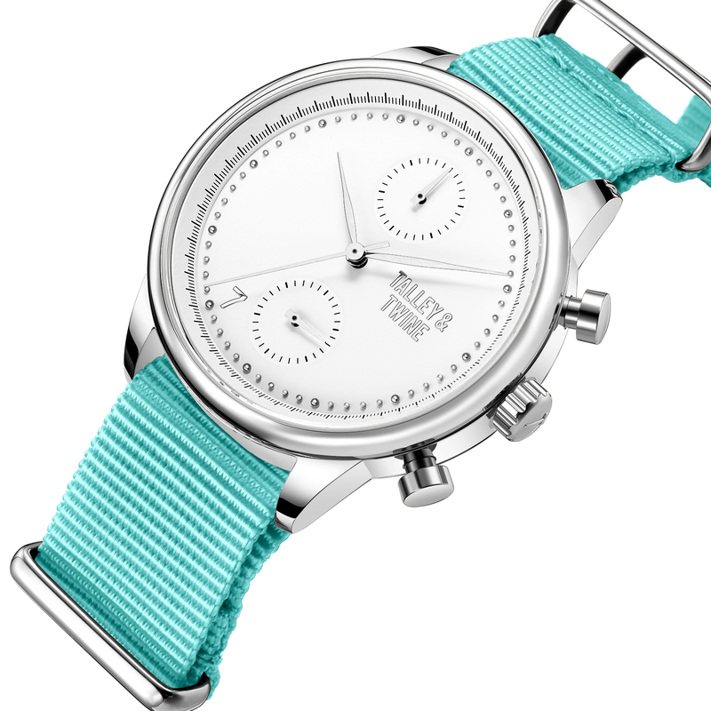 **PRE-ORDER! SHIPPING BY OCTOBER 15TH!** 41mm Women's Worley Chronograph Silver & White w/ Aqua Canvas Band