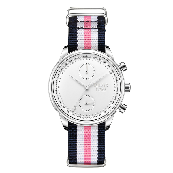 [Women's 41mm] Silver & White Worley Chronograph - Navy/Pink/White Canvas