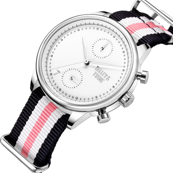 41mm Women's Worley Chronograph Silver & White w/ Navy/Pink/White Canvas Band