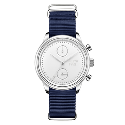 **PRE-ORDER! SHIPPING BY OCTOBER 15TH!** 41mm Women's Worley Chronograph Silver & White w/ Navy Canvas Band