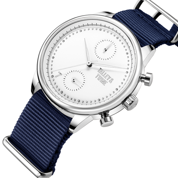 41mm Women's Worley Chronograph Silver & White w/ Navy Canvas Band
