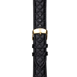 20mm Women's Black Leather Band w/ Gold Accent