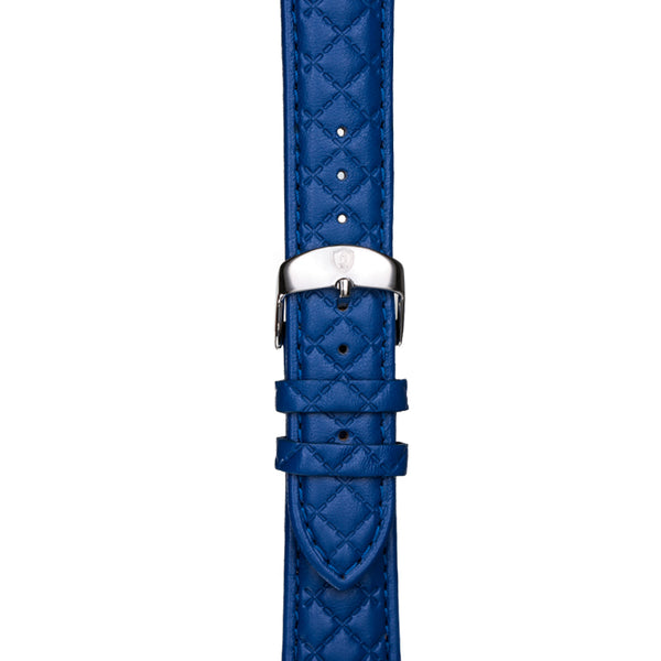 20mm Women's Blue Leather Band w/ Silver Accent
