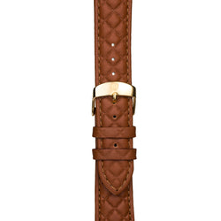 Women's Light Brown Leather Band w/ Gold Accents