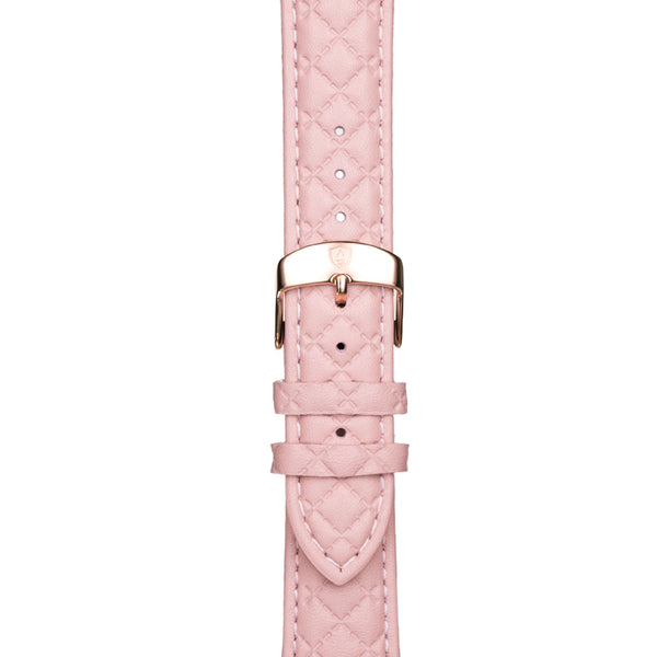 20mm Women's Pink Leather Band w/ Rose Gold Accent