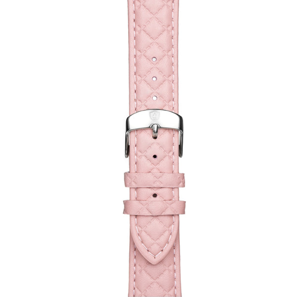 20mm Women's Pink Leather Band w/ Silver Accent