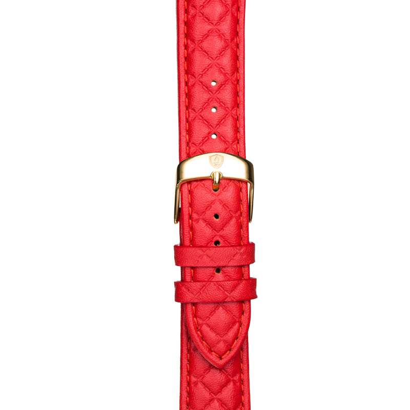 Women's Red Leather Band w/ Gold Accents
