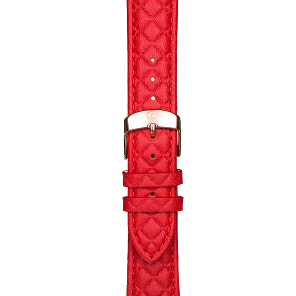 20mm Women's Red Leather Band w/ Rose Gold Accent