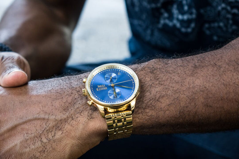 46mm Worley Chronograph M - Gold & Blue