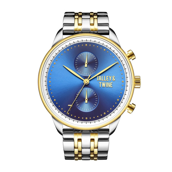 **PRE-ORDER & SAVE! SHIPS BY OCTOBER 15TH** [Women's 41mm] Worley Chronograph M - Silver, Gold & Blue Metal