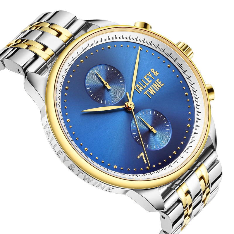 [Women's 41mm] Worley Chronograph M - Silver, Gold & Blue Metal