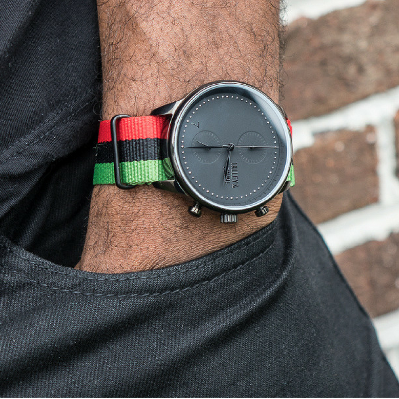 "[46mm] Men's Worley Chronograph - ""Juneteenth"" Canvas - Red Black Green"