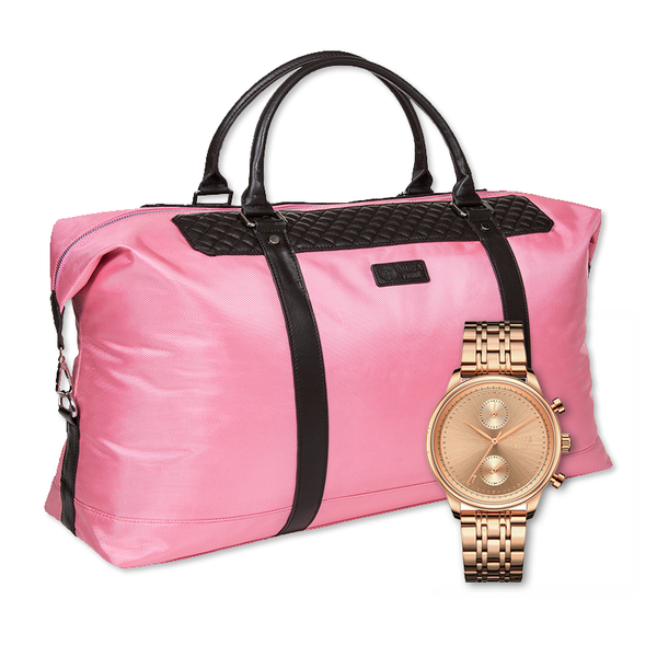 **PRE-ORDER & SAVE! SHIPPING BY JUNE 15TH!**  41mm Women's Worley Chronograph M - Rose Gold + Pink Duffel