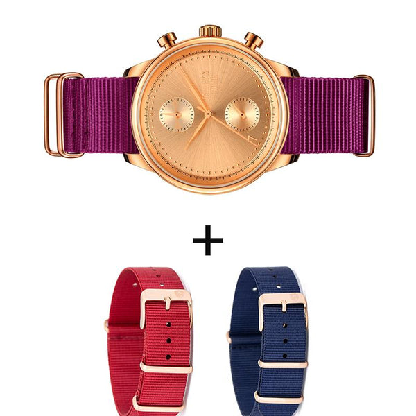 [WOMEN'S 41mm] 3-In-1 Rose Gold Worley Chronograph w/ Navy, Plum & Red Canvas Bands