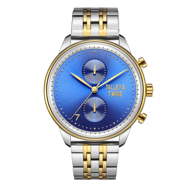 46mm Men's Worley Chronograph M - Silver, Blue & Gold