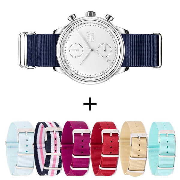 **PRE-ORDER! SHIPPING BY OCTOBER 15TH!** 41mm Women's Worley Chronograph Silver & White 7-in-1 Canvas Band Set