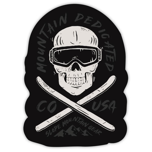 Mountain Dedicated Skull Sticker - Slope Mountain Gear