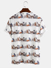 Mens Classical Oil Print Foxes Cartoon O-neck T-shirts