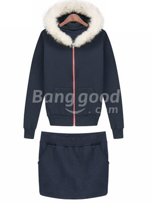 Royal Blue Rabbit Fur Collar Casual Active Fleece Thicken Hoodie Suit