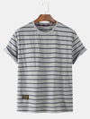 Mens Stripe Short Sleeve Crew Neck Casual T-Shirts
