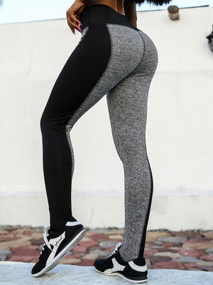 Women Plus Size AB Faces Color Block High Elastic Hips Up Work Out Yoga Leggings Pants