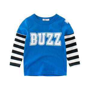 Boys Kids Striped Patchwork Long Sleeve T-Shirts
