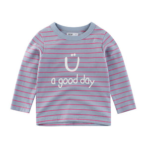 Boys Children Striped Long Sleeve T-Shirts For 3Y-12Y