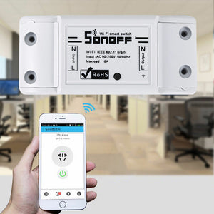 SONOFF Basic 10A 2200W WIFI Wireless Smart Switch Remote Control Socket APP Timer AC90-250V 50/60Hz Works with Amazon Alexa Echo Tap Google Home Assistant Nest IFTTT