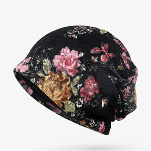 Women Flowers Cotton Lace Beanie Hat Ethnic Vintage Good Elastic Breathable Turban Caps