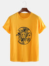 Mens Funny Sun Moon Cartoon Printing Breathable Casual Short Sleeve T-Shirts