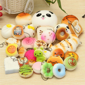 30PCS Random Squishy Soft Panda/Bread/Cake/Buns Phone Straps Decor