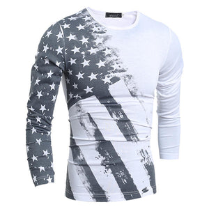 Personality Star Stripe printed T-shirt Men's Casual Round Neck Slim Fit Long Sleeve Tops Tees
