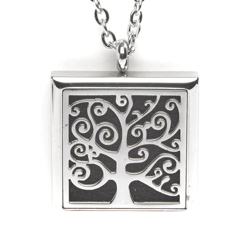 T-Zone Square Tree Locket Essential Oil Necklace