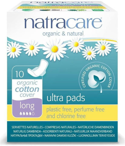 Natracare Ultra Pads Long with wings 10 Count