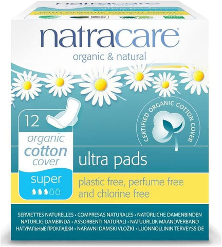 Natracare Ultra Pads Super with Wings 12 Count