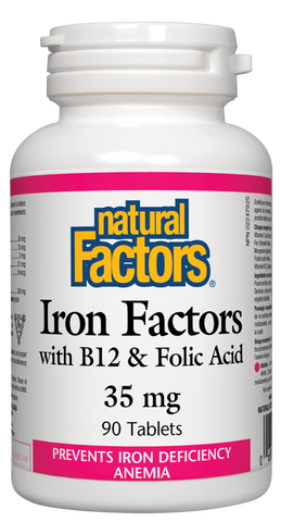 Natural Factors Iron, B12 & Folic Acid 90 Tablet