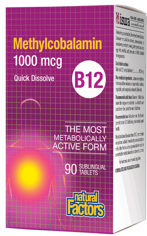 Natural Factors Vitamin B12 Methylcobalamin 1000MCG 90 Sublingual Tablets
