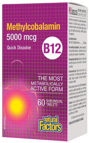 Natural Factors Vitamin B12 MEthylcobalamin 5000MCG 60 Sublingual Tab