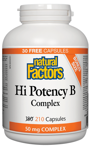 Natural Factors Hi Potency B 50mg Complex 210 Capsules