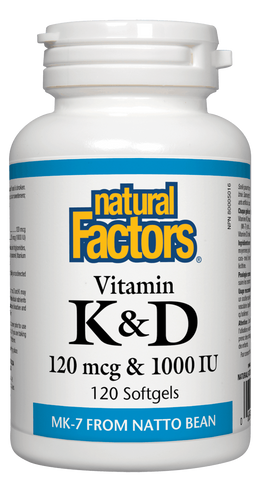 Natural Factors Vitamin K2 120mcg & D3 1000IU 120 Softgels