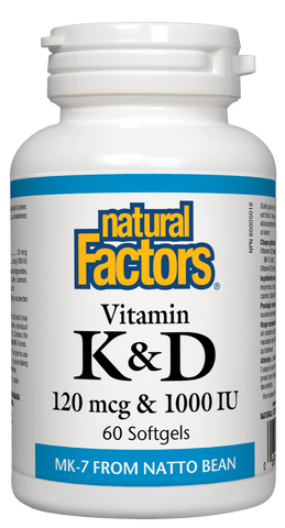 Natural Factors Vitamin K2 120mcg & D3 1000IU 60 Softgels