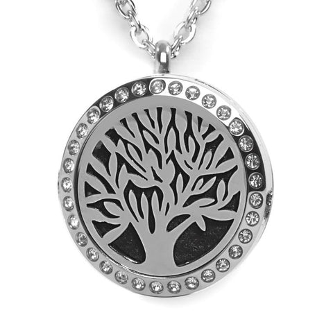 T-Zone Crystal Tree Locket Essential Oil Necklace