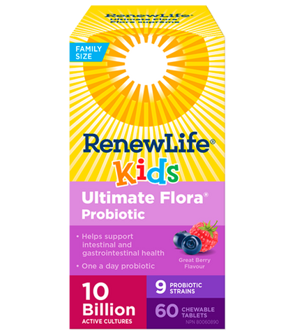 Renew Life Ultimate Flora Kids 10Billion 60 Chewable Tablet