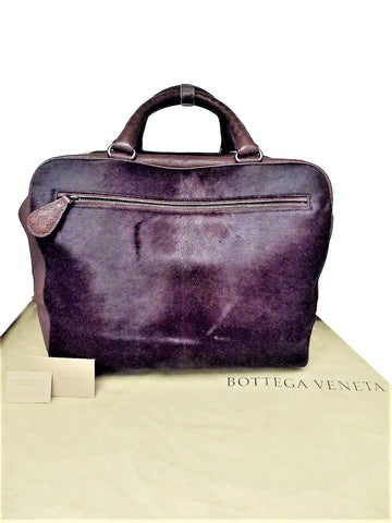 Bottega Veneta Pony Hair Handbag Burgundy Weekender