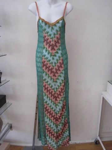 Missoni Crocher Knit Green Peach Full Length Beach Dress Size 38 - Creme de la Creme Consigners: Pre Owned Handbags, Used Handbags, Luxury Consignment